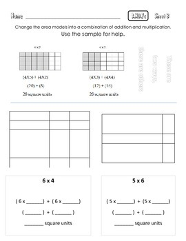 Common Core Math 3.MD.7c : Relate Area to (+) and (x)