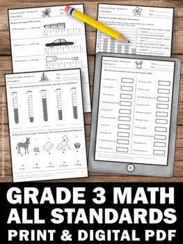 math worksheet : grade math common core standards all 3rd grade math review  : Third Grade Math Review Worksheets