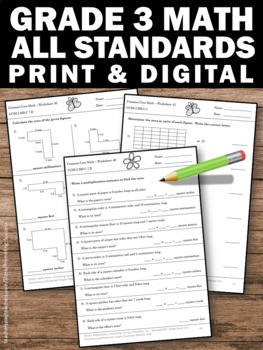 3rd Grade Math Common Core STANDARDS (ALL) 3rd Grade Math Review Worksheets