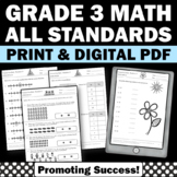 3rd Grade Common Core Math Assessments Review All Standards Progress Monitoring