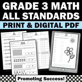3rd Grade Common Core Math Assessments Review All Standards Progress