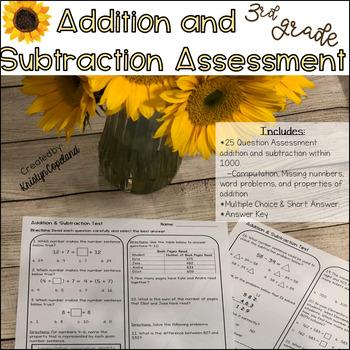 3rd Grade Math Assessment Pack Unit 1