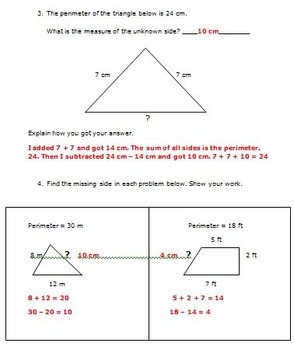 Common Core Math 3rd Grade Measurement (3.MD.8) Activities Perimeter and Area