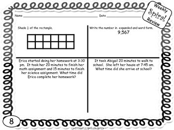Common Core Math 3rd Grade Spiral Review