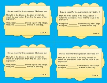 Common Core Math 3rd Grade Task Cards Operations & Algebraic Thinking (PARCC)