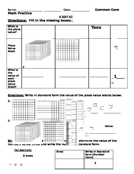 Common Core Math 4.NBT.A.1 Practice