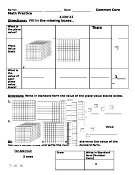 Common Core Math 4.NBT.A.1 Practice