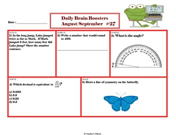 Common Core Math 4th Gd. Daily Brain Boosters August- September