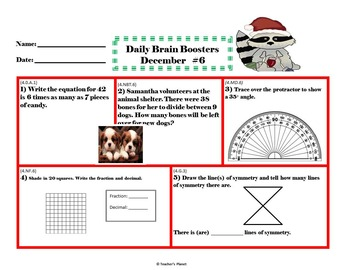 Common Core Math 4th Gd. Daily Brain Boosters December!