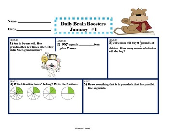 Common Core Math 4th Gd. Daily Brain Boosters January!