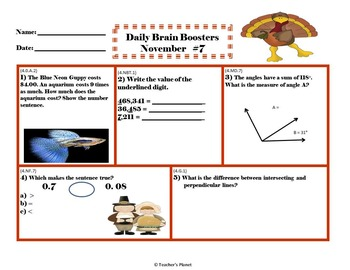 Common Core Math 4th Gd. Daily Brain Boosters November