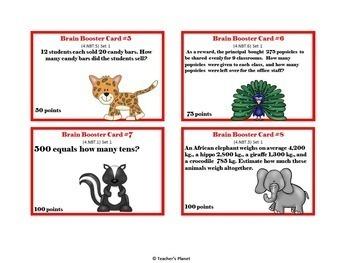 4th Grade Common Core Math Test Prep Game/ Task Cards Bundle  Set 1
