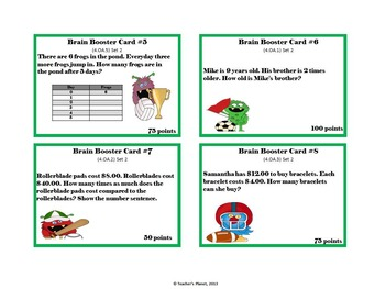 4th Gd. Math Brain Booster Game/Task Cards Op. & Al. Thinking Set 2