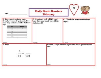 Common Core Math 4th Grade Daily Brain Boosters January – May Bundle Pack