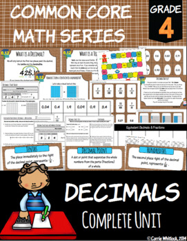 Common Core Math: 4th Grade Decimals Complete Set
