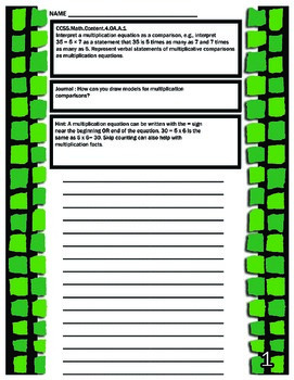 Common Core Math 4th Grade Year Long Journal (With Student Friendly Hints)