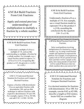 Common Core Math 4th Grade Labels