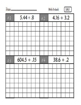Common Core Math 5.NBT.7 : Add,Subtract,Multiply,Divide Decimals
