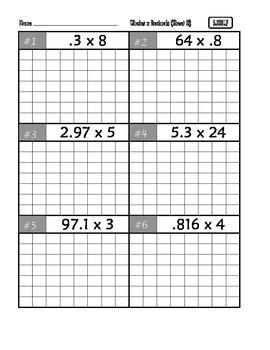 Common Core Math 5.NBT.7 : Multiply Decimals
