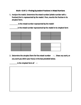 Common Core Math--5.NF.1--Finding Equivalent Fractions in Mixed Numbers