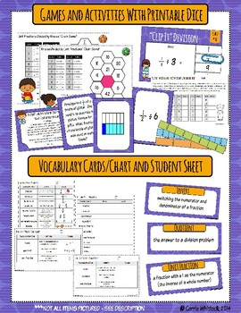Common Core Math: 5th Grade Fractions 3 Complete Set - Division
