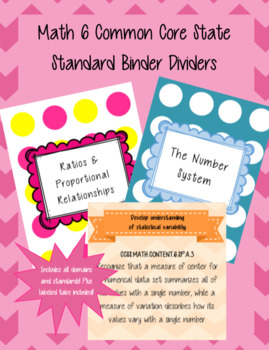 Common Core Math 6 Binder Dividers and Covers