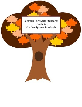 Common Core Math 6 Number System Standards Tree