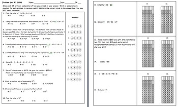 Common Core Math 6 Spiral Review Problem Sets