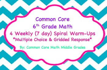 Common Core Math 6 Warm-Ups (4 weeks)