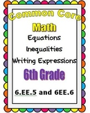 Common Core Math 6th Grade Equations/Inequalities Write Expressions (6.EE.5.6)