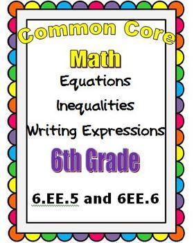 Common Core Math 6th Grade Equations/Inequalities Write Ex