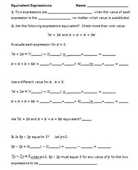 Common Core Math 6th Grade Equivalent Expressions (6.EE.3,4) with I Have-Who Has