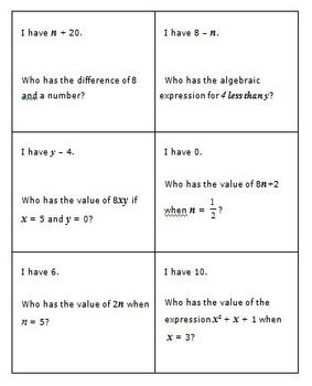 Common Core Math 6th Grade Expressions (6.EE.2a,b,c) with I Have-Who Has Game