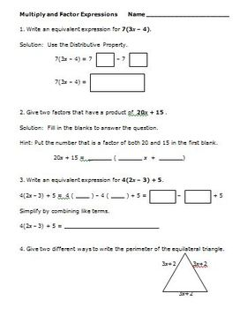 Common Core Math 7th Grade Equivalent Expressions with I Have - Who Has Game