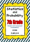Common Core Math 7th Grade Statistics and Probability CCSS 7.SP.5-8