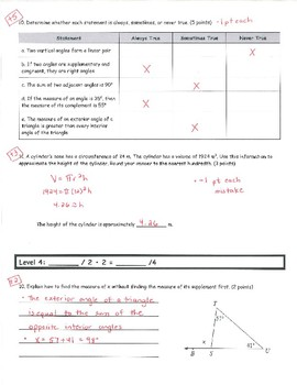 Common Core Math 8 Assessment - Angles and Volume