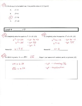Common Core Math 8 Assessment - Rational and Irrational Numbers