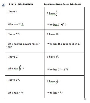 8th grade Math (8.EE1,2) Activities - Exponents Plus I Have - Who Has Game