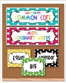 Common Core Math Academic Vocabulary Word Wall Kindergarten-Rainbow Dots