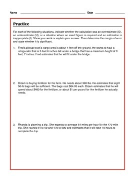 Common Core Math: Accuracy of Estimates - Tutorial and Practice