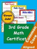 Common Core Math Achievement Certificates - 3rd Grade