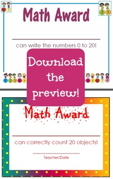 Common Core Math Achievement Certificates - Kindergarten