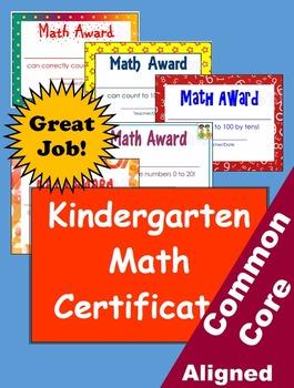 Common Core Math Achievement Certificates - Kindergarten