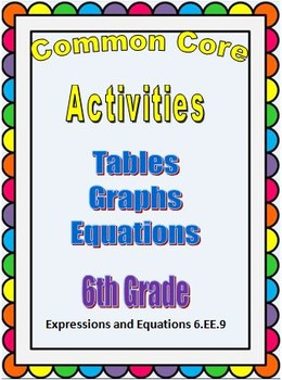 Common Core Math Activities 6th Grade (6.EE.9) Tables, Graphs, Equations