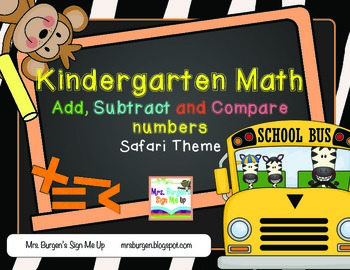 Common Core Math Add, Subtract and Compare Numbers for Kin