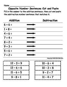 Common Core Math First Grade Add then Subtract 1.OA.B.4