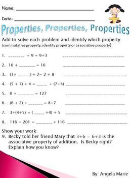 Common Core Math Addition, Subtracting, Rounding, Addition Properties