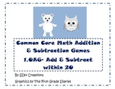 Common Core Math Addition & Subtraction Games (1.OA6): Polar Animal Themed