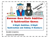 Common Core Math Addition & Subtraction Games: President's Day-Themed