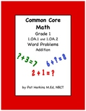 Common Core Math Addition Word Problems 1.OA.1 and 1.OA.2